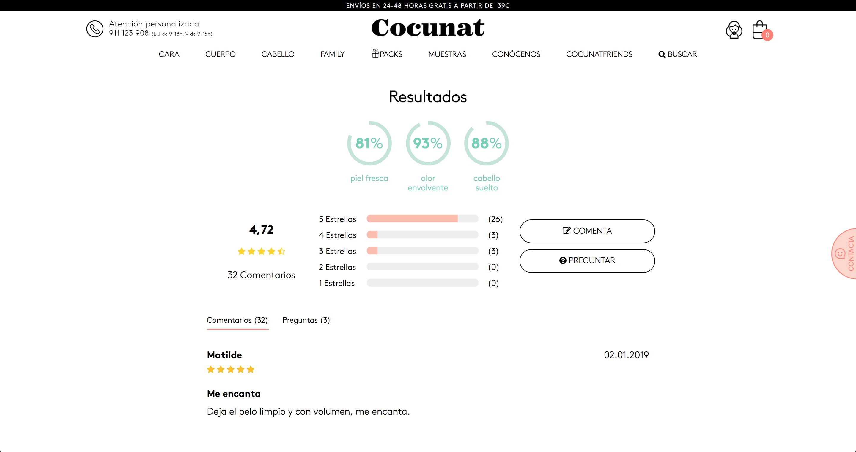 El módulo de opiniones de Cocunat