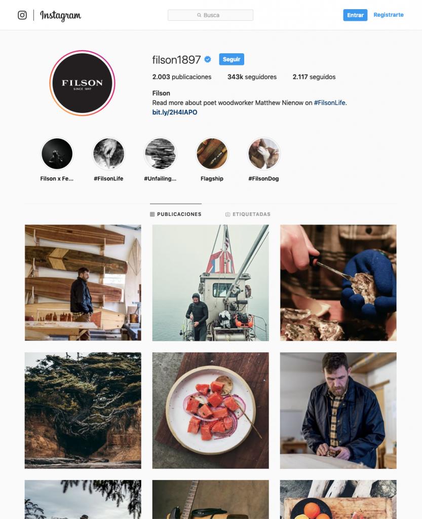 Instagram de Filson: mucho tipo duro en un solo time line